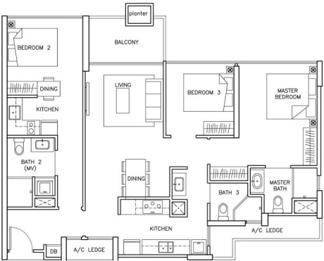 The Santorini Condo Floor Plan at Tampines