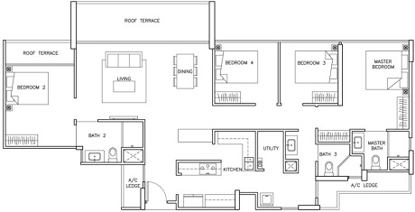 The Santorini Condo Penthouse Floor Plan at Tampines